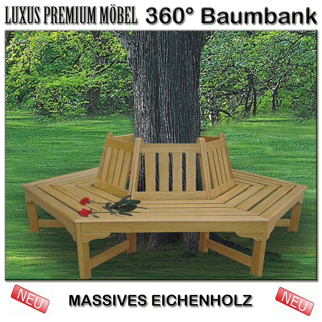 baumbank 360 grad bank baum rundbank w teak neu ebay. Black Bedroom Furniture Sets. Home Design Ideas