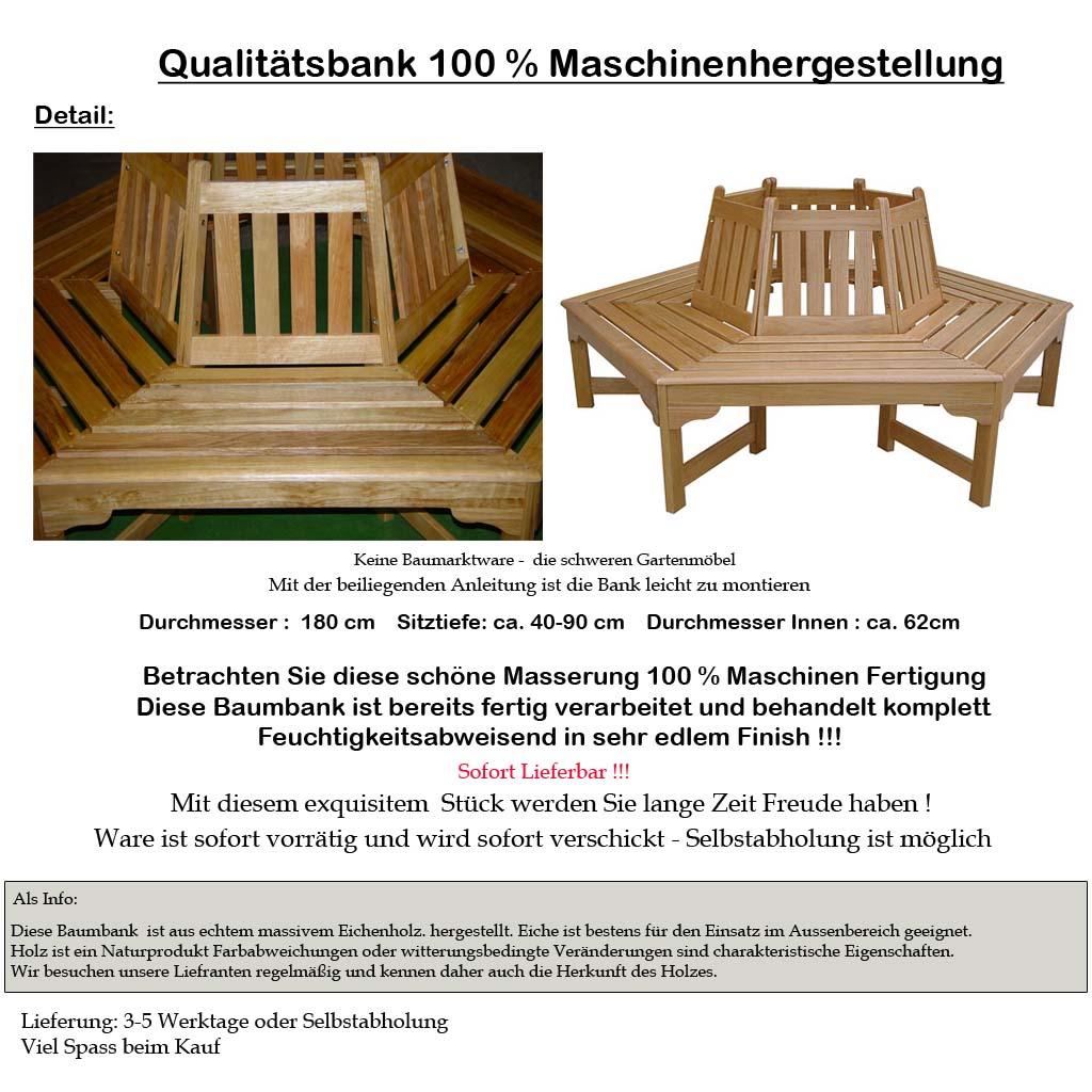 360 Grad Baumbank Gartenbank Rundbank Sitzgruppe Gartenmöbel Holz NEU