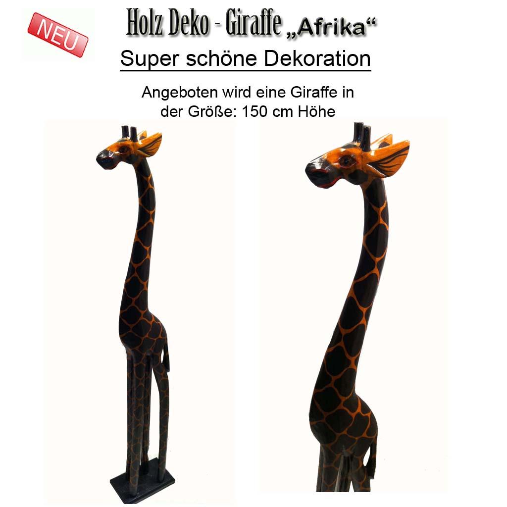 giraffe holzgiraffe afrika holz giraffe figur skulptur 150 cm neu ebay. Black Bedroom Furniture Sets. Home Design Ideas