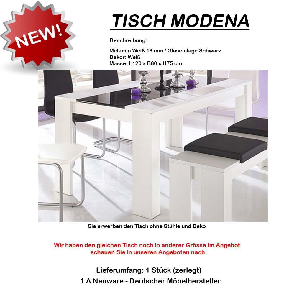 design 120 x 80 esstisch esszimmertisc h tisch weiss glas schwarz neu ovp ebay. Black Bedroom Furniture Sets. Home Design Ideas