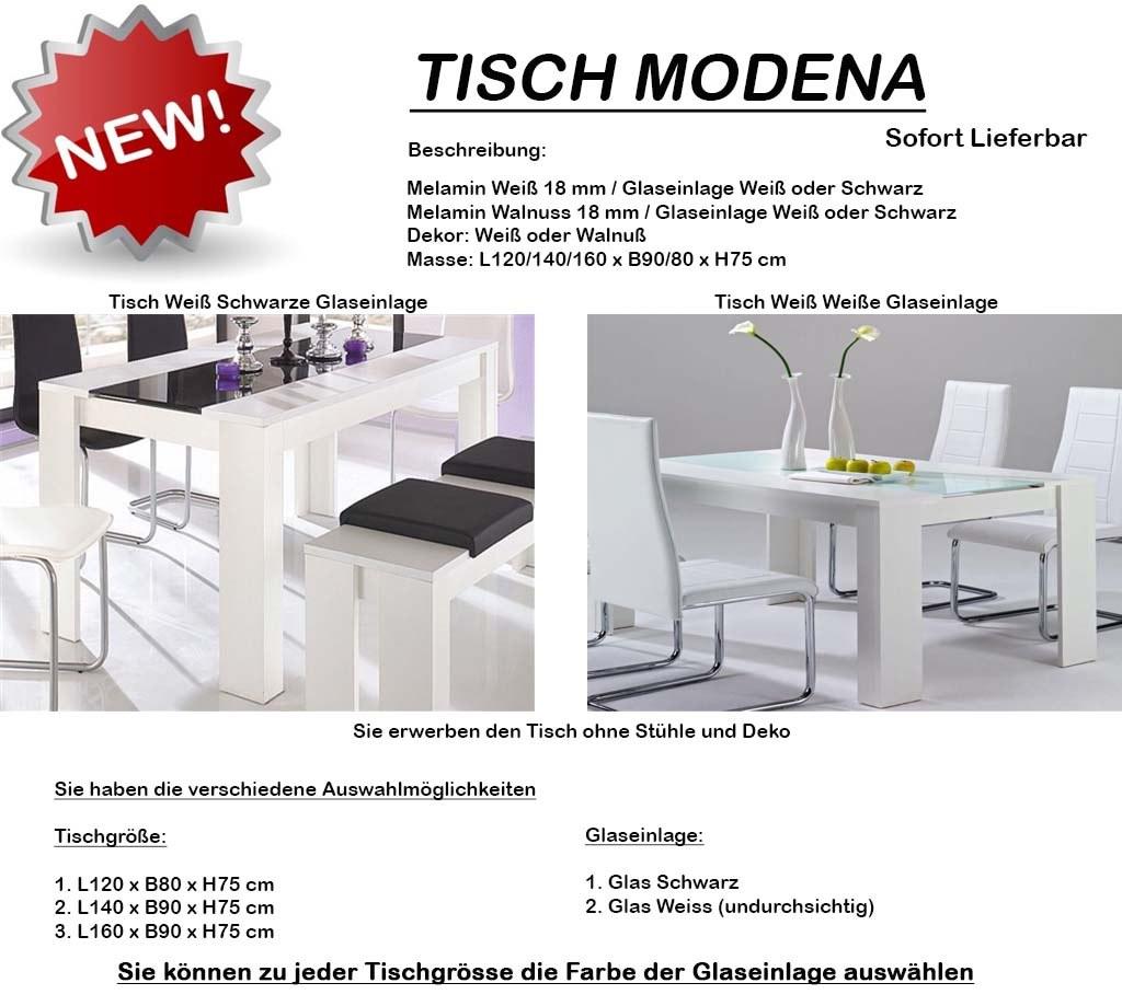 design 120 140 160 esstisch esszimmertisc h tisch glastisch weiss walnuss neu ebay. Black Bedroom Furniture Sets. Home Design Ideas