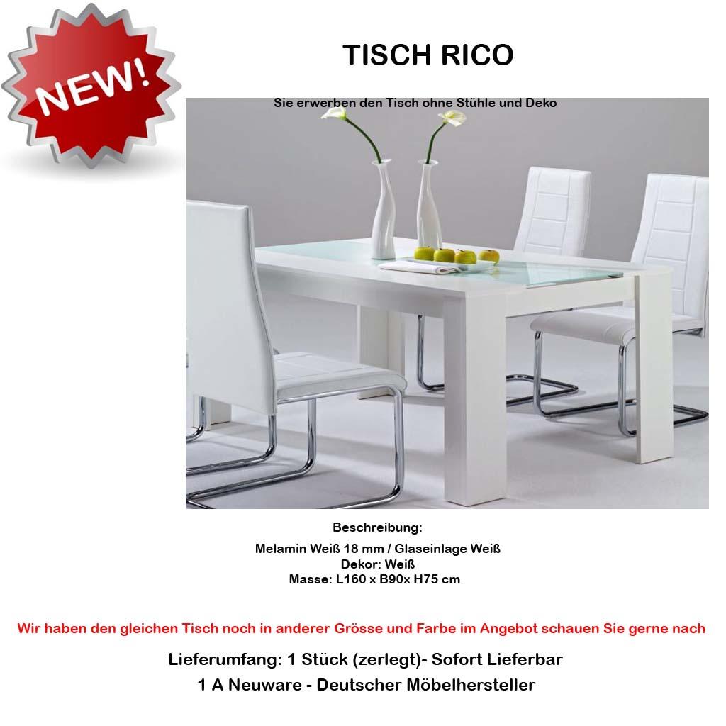 design 160 x 90 esstisch esszimmertisc h tisch weiss glas weiss neu ovp. Black Bedroom Furniture Sets. Home Design Ideas