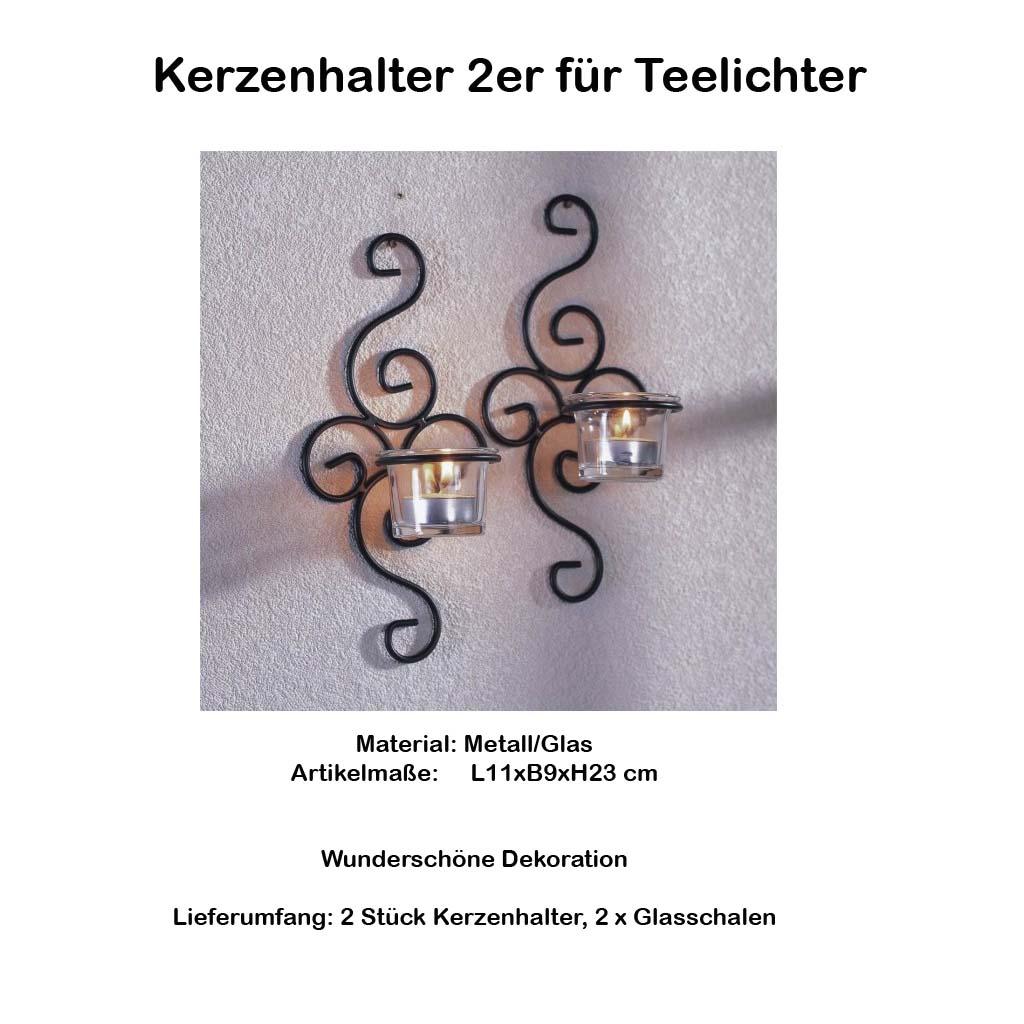 neu kerzenhalter 2er f r teelichter wandleuchter mit schalen wandkerzenhalter ebay. Black Bedroom Furniture Sets. Home Design Ideas