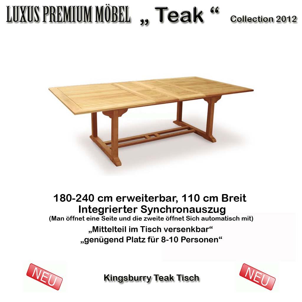 kingsburry teak ausziehtisch rechteckig 180 240 cm schwere ausf hrung neu ebay. Black Bedroom Furniture Sets. Home Design Ideas