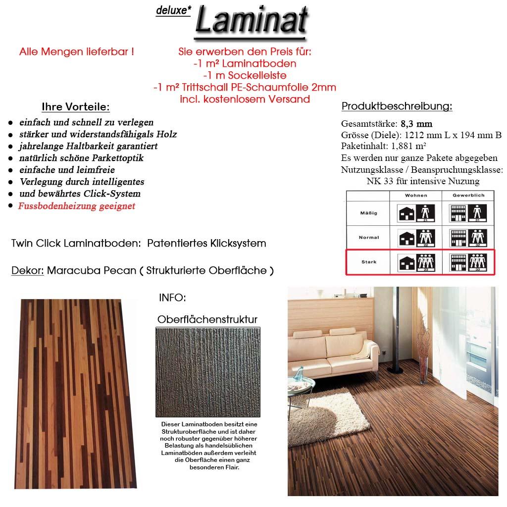 pangistep highend klick laminat 8 3 mm ac 5 nk 33 maracuba pecan struktur neu ebay. Black Bedroom Furniture Sets. Home Design Ideas
