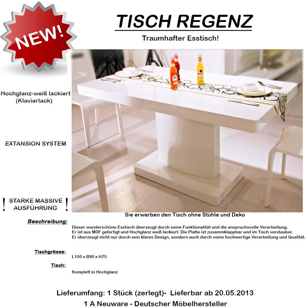 design 150 x 90 tisch esszimmertisch esstisch hochglanz weiss klavierlack ebay. Black Bedroom Furniture Sets. Home Design Ideas